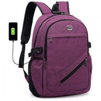 Fashion USB Port Design Man Backpack - PURPLE DRAGON