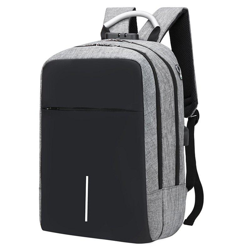 USB Port Design Man Backpack - GRAY CLOUD