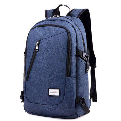 HUWAIJIANFENG 0223 USB Port Design Polyester Backpack - STEEL BLUE