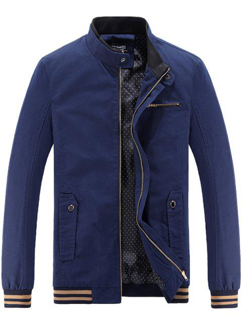 Fashion Slim Stand Collar Casual Jacket for Men - DEEP BLUE XL