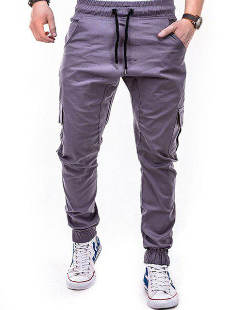 Fashion Solid Color Side Pockets Tether Elastic Belt Casual Beam Pants for Men - WISTERIA PURPLE 4XL