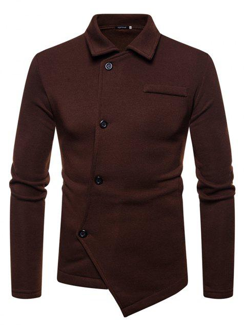 Solid Color Oblique Hem Lapel Cardigan Hoodie for Men - COFFEE L