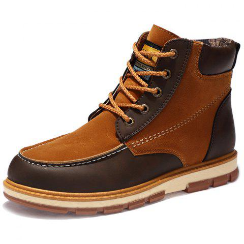 Fashionable Thickening Sole PU Leather Boots for Men - BROWN 42