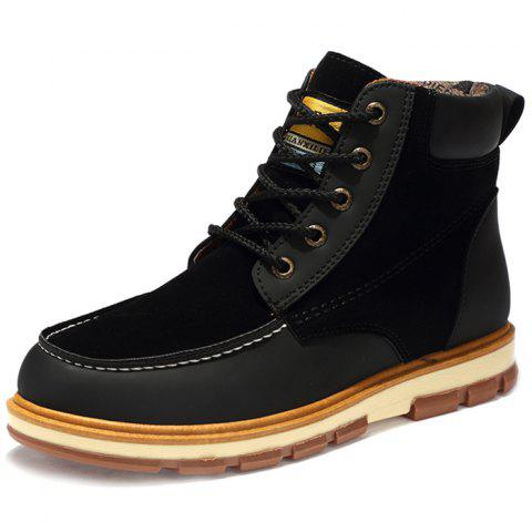 Fashionable Thickening Sole PU Leather Boots for Men - BLACK 46