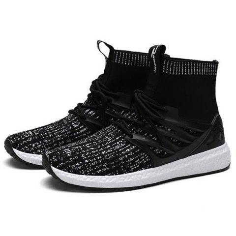 Fashion Breathable Knitted Sports Sneakers - multicolor B 40