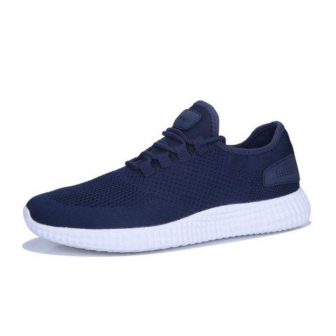 Casual Breathable Solid Color Running Sneakers - BLUE 46