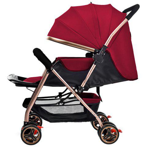 Zhierle Foldable Two-way Push Stroller for Baby - RED WINE