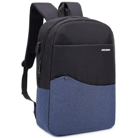 Unisex USB Charging Port Design Backpack - STEEL BLUE
