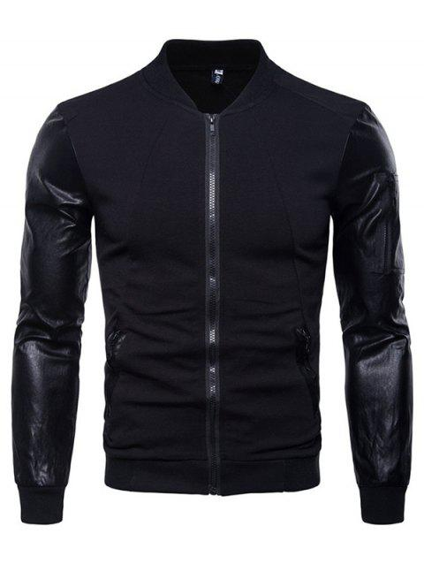 AOWOFS Stand Collar Long Sleeve Stitching Jacket for Man - BLACK L