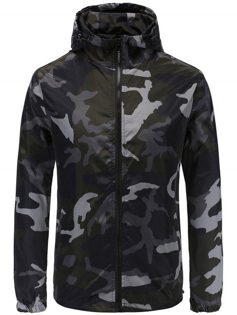 Fashion Camouflage Hooded Jacket - BLACK XS