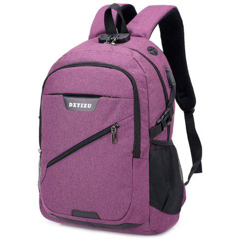 USB Charging Port Design Anti-theft Backpack - PURPLE FLOWER