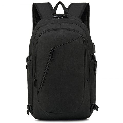 Baibu Waterproof USB Port Design Man Backpack - JET BLACK