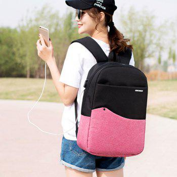 Unisex USB Charging Port Design Backpack - HOT PINK