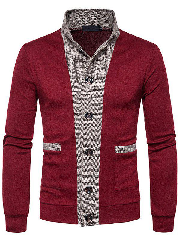 Stylish Stand Collar Button Splicing Cardigan for Men - RED WINE L