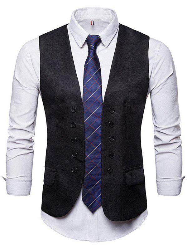Double-breasted Suit Waistcoat for Men - BLACK XL