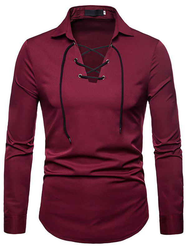 Fashion Comfortable Solid V-neck Tether Long Sleeve Shirt for Men - RED WINE 2XL