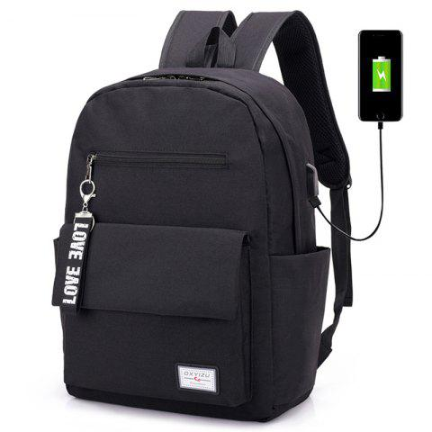 Stylish Fashionable Canvas Backpack for Work School - BLACK