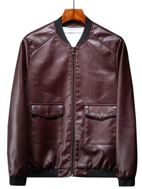Fashionable Stylish PU Leather Jacket for Men - RED WINE L