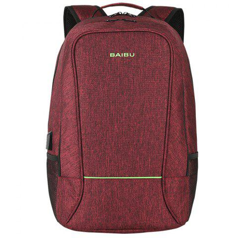 Baibu Business Water-resistant Laptop Backpack with USB Port - RED WINE