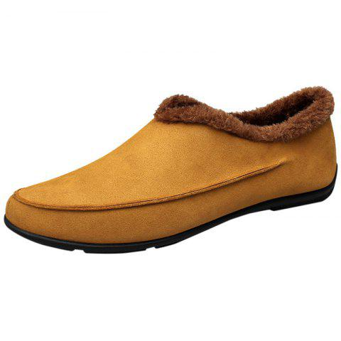 Warm Male Shoes with Slip-on  Design - GOLDEN BROWN 42