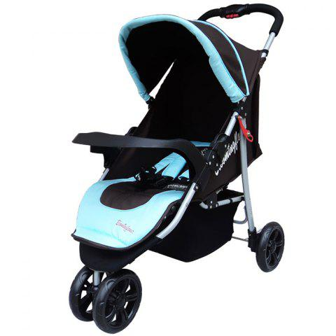 Trendy Foldable Three-wheeled Stroller for Baby - BLUE ZIRCON