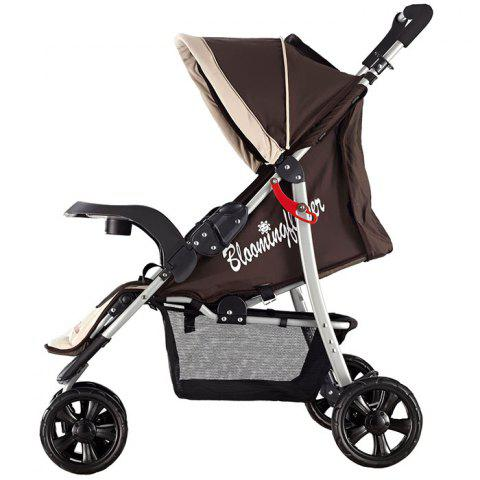Trendy Foldable Three-wheeled Stroller for Baby - BROWN