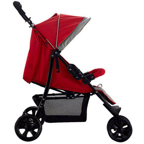 Trendy Foldable Three-wheeled Stroller for Baby - RED WINE