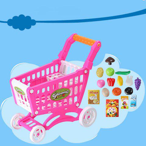 Simulation Shopping Cart Set Pretend Play Toy for Kids - multicolor A
