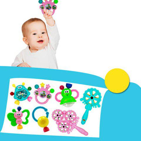 Cartoon Early Education Rattle Toy for Baby 7pcs - multicolor A