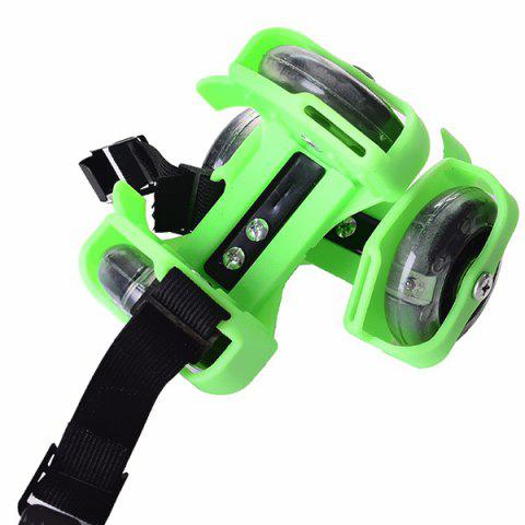 Children Adjustable Flashing Roller Skate Wheel - GREEN