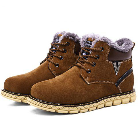 Fashion Anti-slip Outdoor Brushed Men Snow Boots - BROWN 44