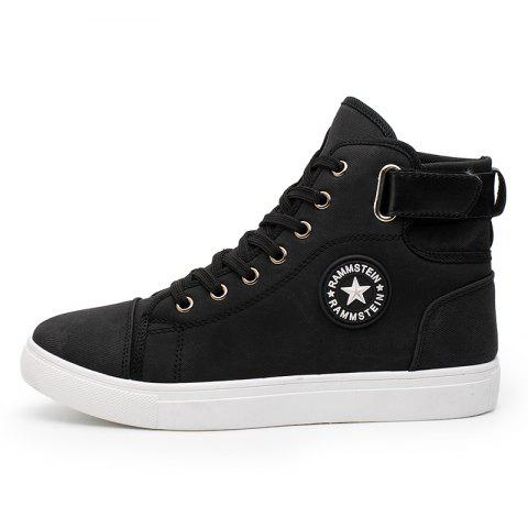 Male Fashion Sports Shoes Lightweight High Sneakers - BLACK 45