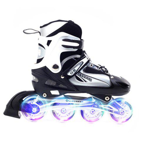 Trendy Pair of Adjustable Cool Roller Skates - BLACK L SHINING