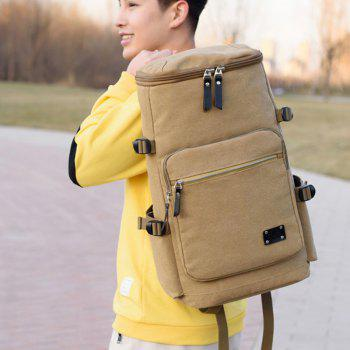 Wearable Canvas Large Capacity Backpack - TAN
