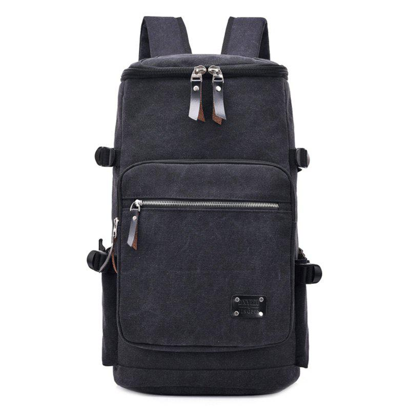 Wearable Canvas Large Capacity Backpack - BLACK