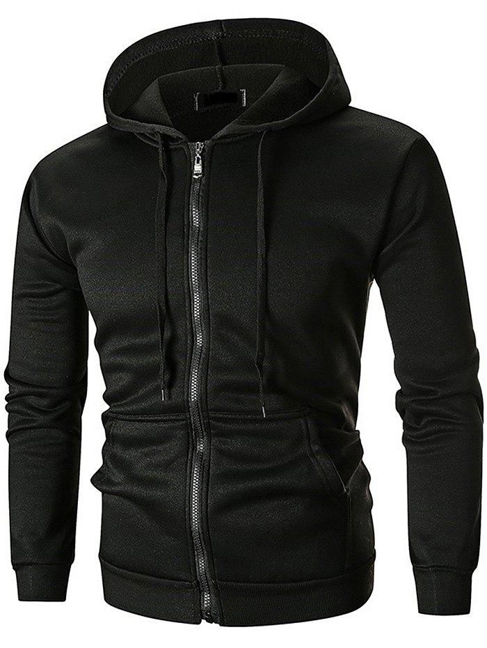 Solid Color Zipper Hooded Sweater - BLACK L