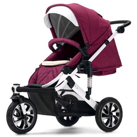 WLA Three-wheeled Baby Stroller Cart for Safety Seat - RED WINE