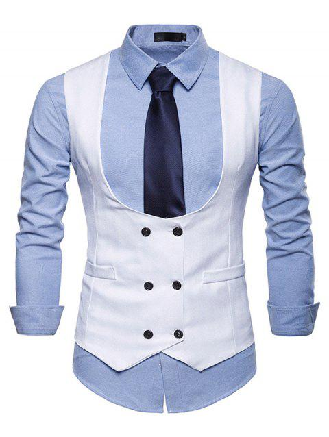 2019 U Neck Double Breasted Suits Vests Waistcoat For Men In White M