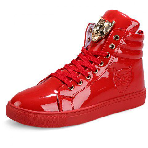 Stylish Metal Decoration Leisure Sneakers - RED 45