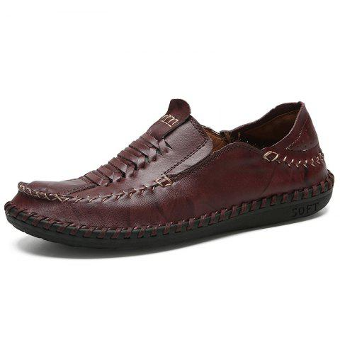 Men's Low Leather Leisure Shoes - DEEP BROWN 43