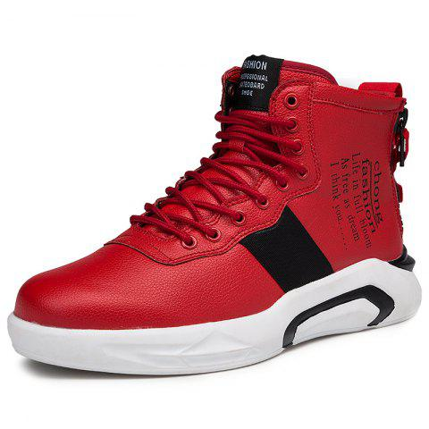High Top Microfiber Casual Shoes for Men - RED 41