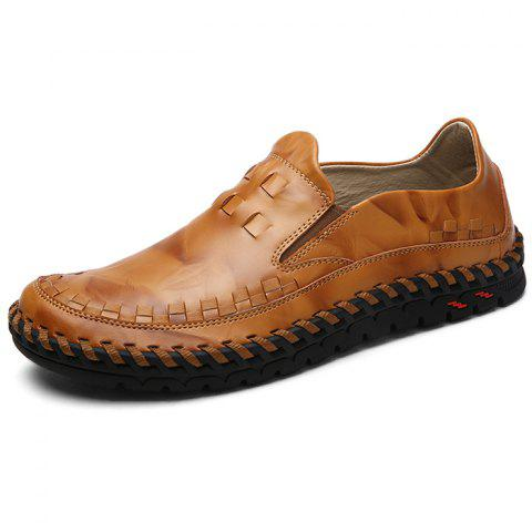Slip-on respirant hommes chaussures plates Casual - Brun 46