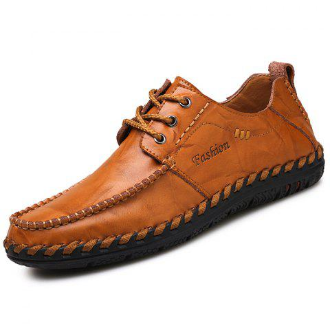 Stylish British Style Anti-slip Leather Casual Shoes for Men - LIGHT BROWN 42