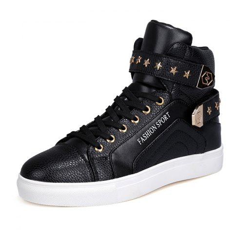 Casual Stylish High Top Shoes for Men - BLACK 44
