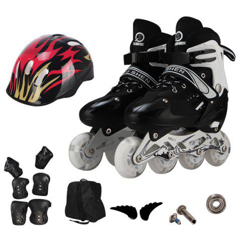 Trendy Adjustable Full Flash Roller Skates Set for Kids - BLACK M