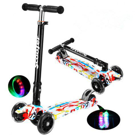 Trendy Foldable Adjustable Scooter with Flash Wheel for Kids 1pc - multicolor GRAFFITI