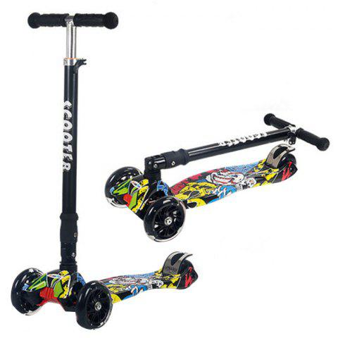 Trendy Foldable Adjustable Scooter with Flash Wheel for Kids 1pc - multicolor STREET DANCE