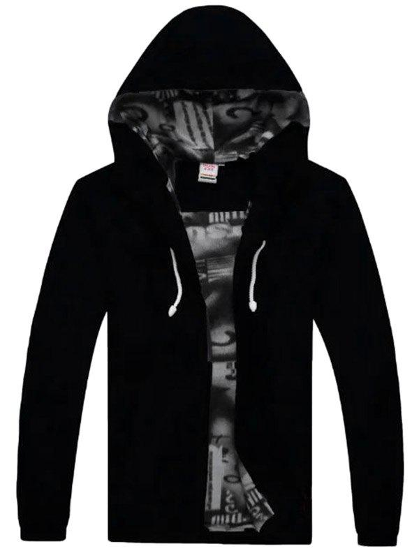 Male Thick Long Sleeve  Hooded Wind Trench Coat - BLACK 4XL