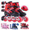 Trendy Adjustable Full Flash Roller Skates Set for Kids - RED M