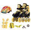 Trendy Adjustable Full Flash Roller Skates Set for Kids - BLACK S
